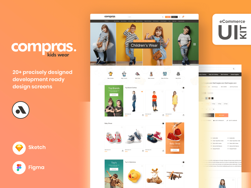 Compras – Kids Clothing E-Commerce Web UI Kit