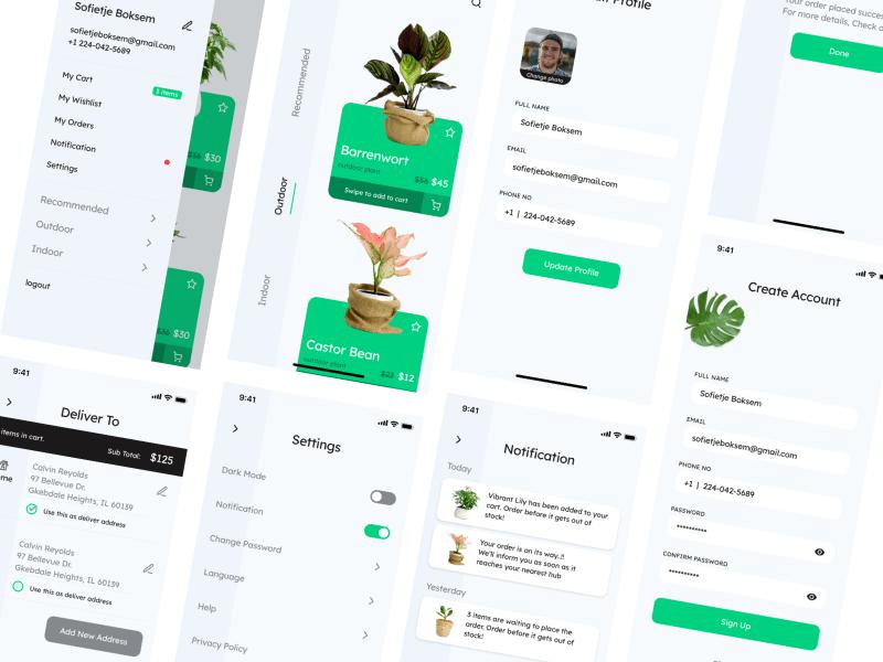 Plant & Gardening iOS App UI Kit