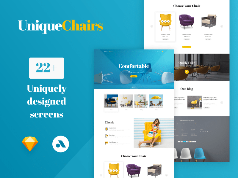 Uniquechairs – Premium eCommerce Sketch App Template